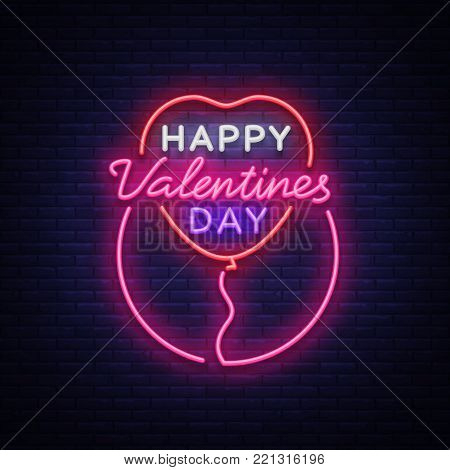 Happy Valentine s Day is a neon sign. Bright light banner, neon billboard, vivid advertising, brochure. Design a template for greetings, advertising, postcard, flyer, card. Vector illustration.