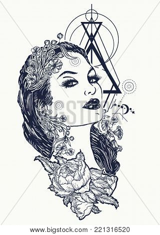 Art nouveau woman tattoo and t-shirt design. Symbol of a retro, queen, princess, lady, elegance, glamour, renaissance. Beautiful glamourous vintage art nouveau  woman tattoo. Noir woman