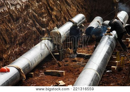 New Oil pipeline under busy construction site
