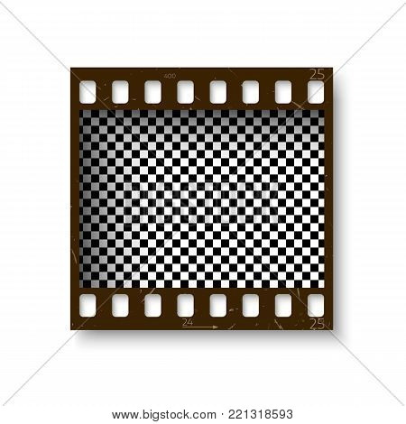 Realistic retro frame of 35 mm filmstrip with shadow isolated on white background. Transparent negative cadre. Vector illustration