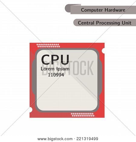 CPU. Central Processing Unit isolated. Computer Hardware. Modern flat design. Vector.