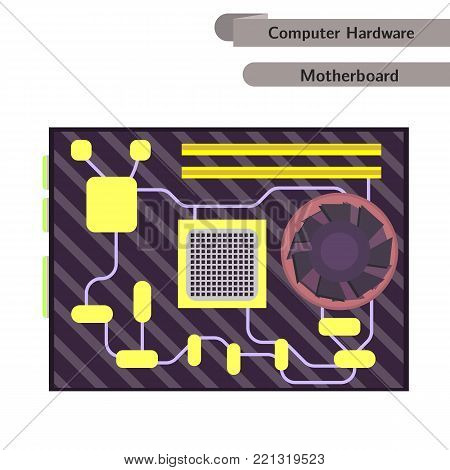 Motherboard isolated. Computer Hardware. Modern flat design. CPU Vector.