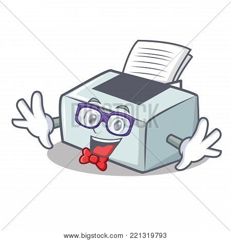 Geek printer character cartoon style vector illustration