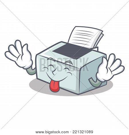 Tongue out printer mascot cartoon style vector illustration