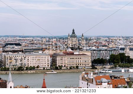 Budapest, Hungary - August 12, 2017: Cityscape of Budapest from Buda Castle Hill