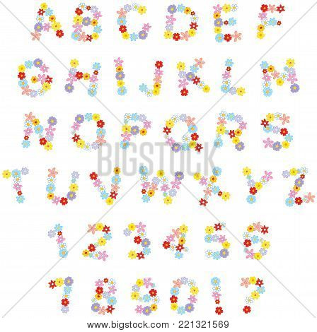 Vector English alphabet and numerals with flowers drawn in funny cartoon style