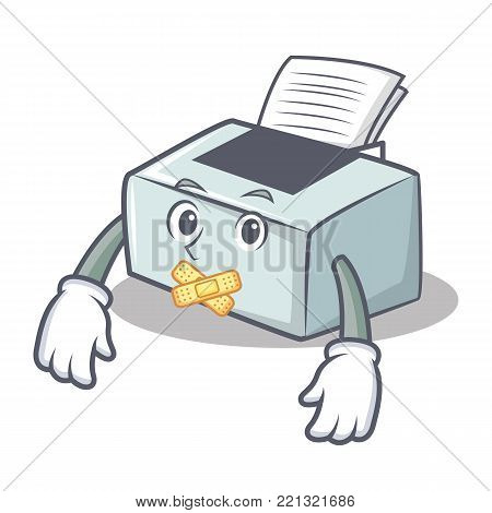 Silent printer mascot cartoon style vector illustration