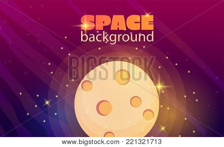 Cartoon colorful space background . Ufo space objekt. Vector space illustration.