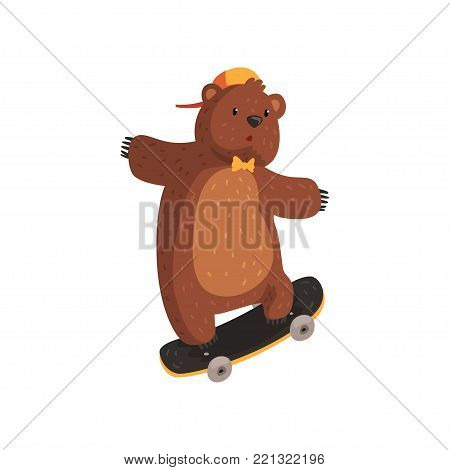 Funny teen bear in orange cap and bow tie doing kickflip trick on skateboard. Extreme sport game. Cartoon character of wild animal with brown fur, small rounded ears and paws with claws. Flat vector.
