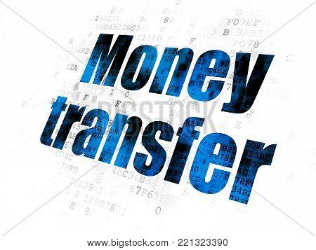 Money concept: Pixelated blue text Money Transfer on Digital background