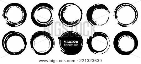 Set of grunge circles. Vector grunge round shapes.  Black shapes, stains and dirty splashes and spots isolated  on white background.