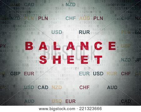 Money concept: Painted red text Balance Sheet on Digital Data Paper background with Currency
