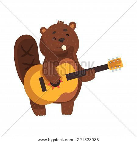 Cheerful little beaver playing on guitar. Cartoon wild animal character with cute muzzle, little ears, shaped tail and big teeth. Forest rodent. Flat vector illustration isolated on white background.