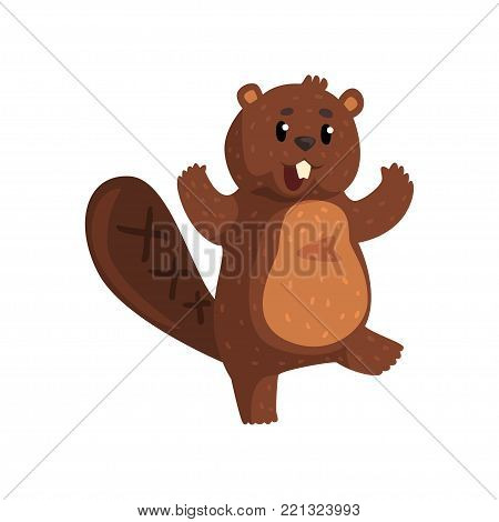 Surprised brown beaver with happy muzzle expression. Cartoon rodent with shiny eyes, little ears, shaped tail and big teeth. Adorable forest animal. Flat vector design for poster, sticker or print.