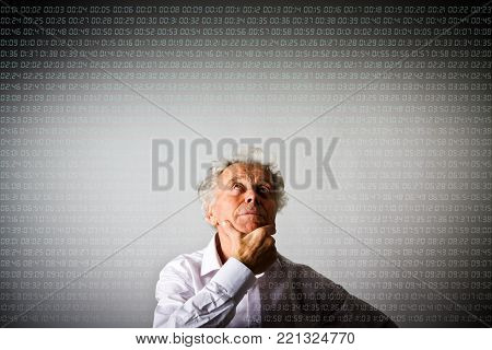 Old man in white is full of doubts and hesitation. Digital time is passing. Time and day concept.