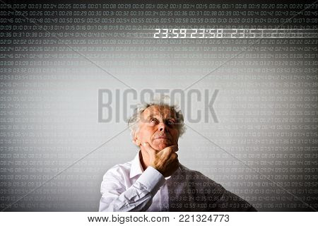 Old man in white is full of doubts and hesitation. Digital time is passing. Few seconds before twelve.