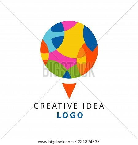 Creative idea logo template with abstract circle logo with geometric pattern. Educational business or hub, children center of creativity label concept. Simple and clean flat design vector on white.