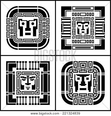 A set of digital pixel cyber avatar icons. Computer technology, security, hacking. Black and white face person. 8-bit abstract symbol design illustration. stock vector.
