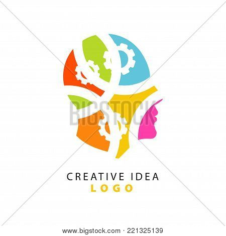 Abstract human head and gears showing thinking process, design for creative idea logo template. Education business and developing center label. Creativity mechanism concept. Vector isolated on white
