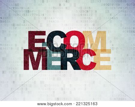Business concept: Painted multicolor text E-commerce on Digital Data Paper background