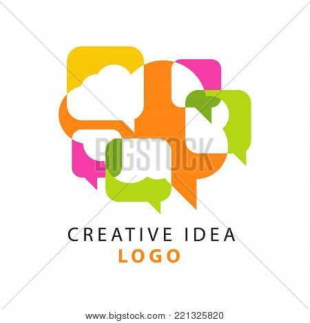 Creative idea logo template with abstract colorful overlapping speech bubbles icons. Educational business, developing center label. People brainstorming concept. Vector illustration isolated on white