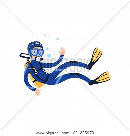 Professional diver swimming underwater and showing OK gesture. Cartoon man character in wetsuit, mask, flippers and aqualung on back. Extreme water sport concept. Isolated flat vector illustration.
