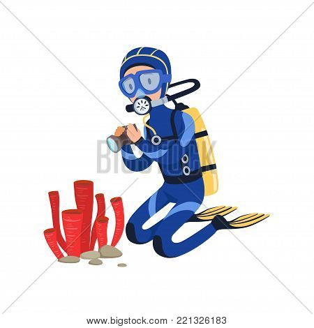 Diver at bottom of the ocean taking photos of marine plants. Cartoon man character in wetsuit, mask, flippers and aqualung on back. Colorful flat vector illustration isolated on white background.