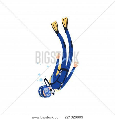 Cartoon man character engaged in scuba diving in sea. Diver in blue wetsuit, mask, flippers and equipment for breathing on back. Extreme water sport concept. Isolated vector illustration in flat style