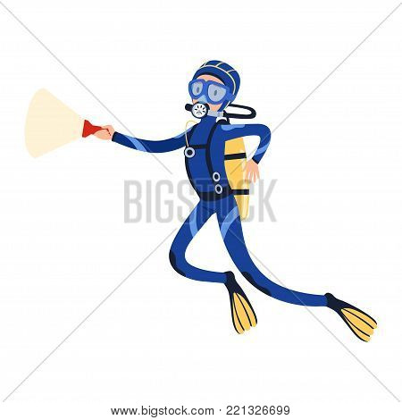 Scuba diver swimming in the ocean with flashlight in hand. Cartoon young man character in special diving costume, mask, flippers and equipment for breathing gas. Snorkeling concept. Flat vector design