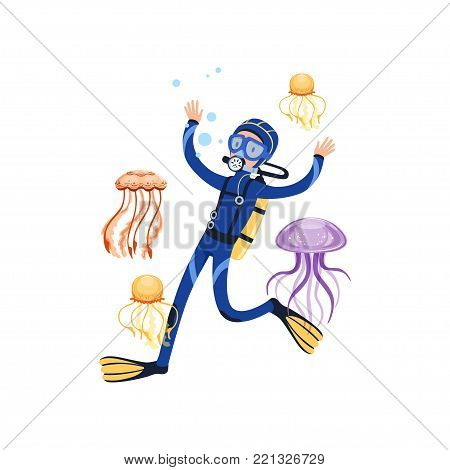 Man in underwater world swimming with wonderful marine creatures. Colorful jellyfish. Cartoon scuba diver in blue wetsuit, mask, flippers and equipment for breathing on back. Flat vector design.