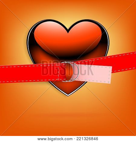 orange background with heart and belt with clasp