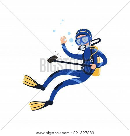 Diver swimming underwater and taking selfie using camera on monopod. Cartoon young man character in diving suit, goggles, flippers and breathing gas on back. Isolated vector illustration in flat style