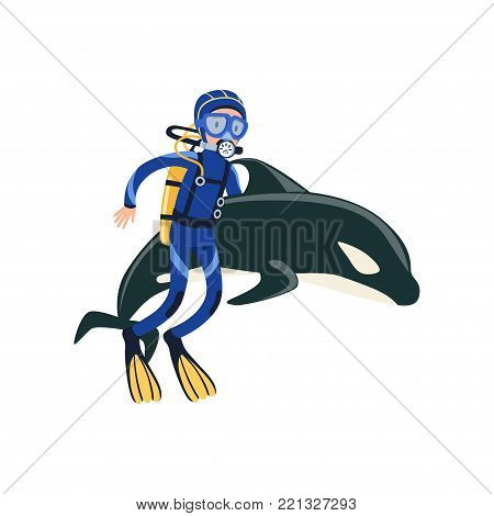 Scuba diver swimming with dolphin. Active summer recreation and vacation concept. Underwater adventure. Cartoon man character in wetsuit, mask, flippers and breathing gas on back. Flat vector design.