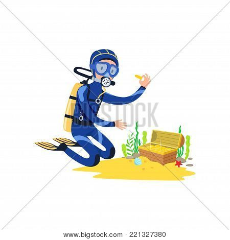 Lucky diver found treasure chest on sandy ocean floor. Cartoon young man character in diving suit, swimming goggles, flippers and breathing gas on back. Isolated vector illustration in flat style.