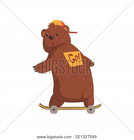 Cartoon bear riding ob skateboard, sticker on his back with sign Go . Wild animal character in orange cap. Grizzly with brown fur, small rounded ears and paws with claws. Isolated flat vector design.