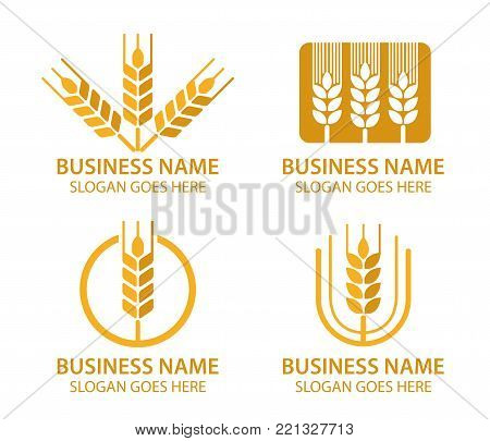 food pastry bakery wheat grain seed logo set