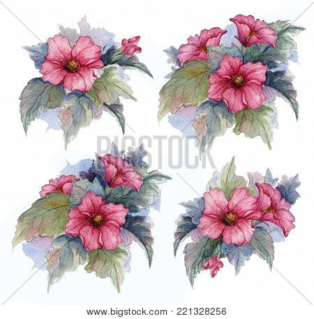 Beautiful bouquets of flowers. Collection of flowers, leaves, buds, branches flowers of red egyptian rose. Set watercolor elements. Perfect for greeting cards, invitations or other printing project.