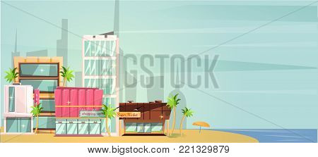 Big city ocean beach vector illustration, flat cartoon high city skyscraper buildings from sea view, modern town landscape, urban cityscape or shore