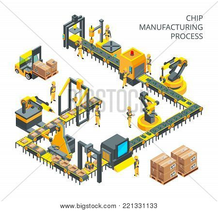 Industrial production of computer parts. Machinery tools for automation processes. Production machinery technology, industry machine equipment for factory manufacture, vector illustration