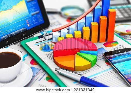 3D render illustration of the macro view of modern tablet computer PC and black glossy touchscreen smartphone or mobile phone with stock market application software, growth bar chart and pie diagram, ballpoint pen, electronic calculator etc.