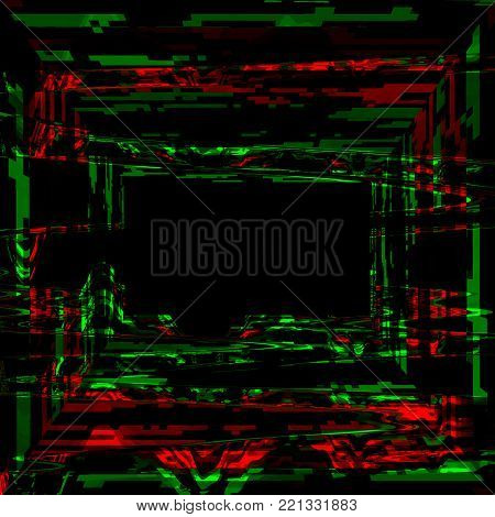 Glitch psychedelic background. Cyber room, digital pixel noise abstract design.Television signal fail. Technical problem, data decay. Colorful noise. Vector illustration