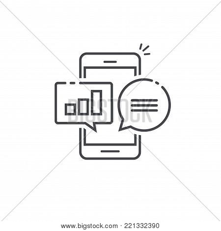 Smartphone graph charts bubbles vector photo bigstock smartphone with graph and charts in bubbles icon analytics chat messages on cellphone diagram ccuart Images