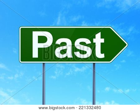 Timeline concept: Past on green road highway sign, clear blue sky background, 3D rendering