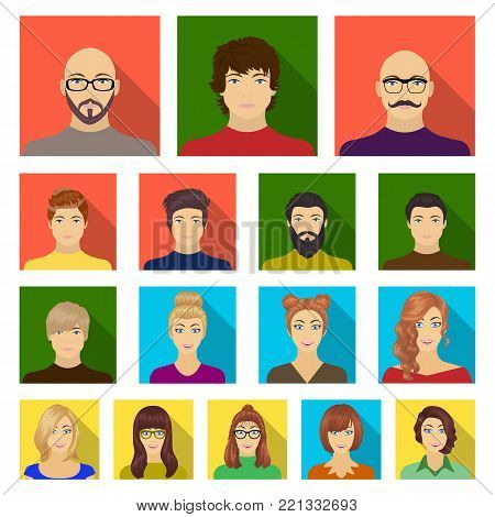 Avatar and face flat icons in set collection for design. A person's appearance vector symbol stock  illustration.
