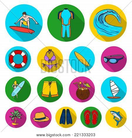 Surfing and extreme flat icons in set collection for design. Surfer and accessories vector symbol stock  illustration.