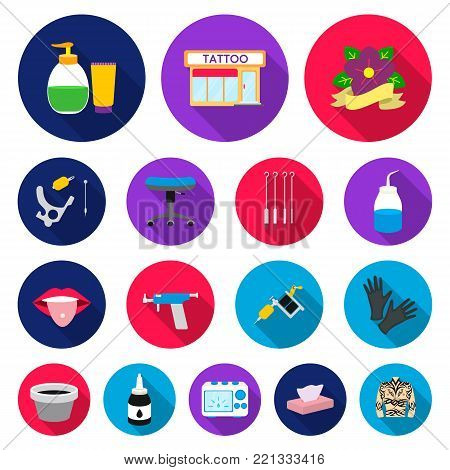Tattoo, drawing on the body flat icons in set collection for design. Tattoo salon and equipment vector symbol stock  illustration.