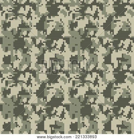 Camouflage seamless pattern Vector illustration for printing on cloth, textile, Wallpaper, paper, wrapper. Different shades of green color Abstract background in military style.