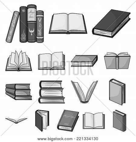 Book in the binding monochrome icons in set collection for design. Printed products vector symbol stock  illustration.