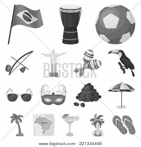 Country Brazil monochrome icons in set collection for design. Travel and attractions Brazil vector symbol stock  illustration.