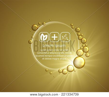 Beauty skin care design over golden backdrop. Vector illustration.Shining golden essence droplet.Bubbles oil Serum Skin Care Cosmetic.Collagen Sollution.